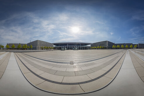 Germany, Berlin Brandenburg Airport, 180° panoramic view of the terminal area - NK000400