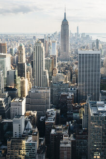 USA, New York City, view to Downtown Manhattan from above - GIOF000099