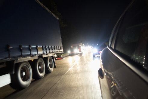Traffic jam on motorway by night - NDF000539