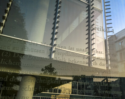 Germany, Berlin, chapter 1 of constitution on glass wall - CM000326