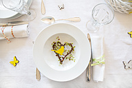 Place setting on laid table at springtime - LVF003769