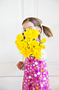 Little girl showing bunch of daffodils - LVF003779