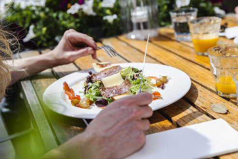 Plate with starter at outdoor restaurant - FMKF002128