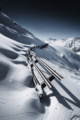 Austria, Tyrol, Ischgl, avalanche protection in winter landscape in the mountains - ABF000656