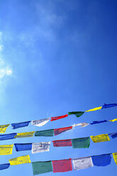 Germany, Munich, Tibetian prayer flags hanging in front of blue sky - AXF000769
