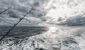 Spain, Asturias, Fishing rods on fishing boat - MGOF000697