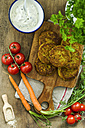 Quinoa fritters and bowl of herbed curd cheese - ODF001293