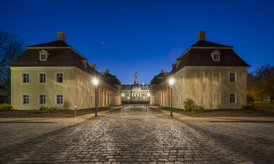Germany, Wermsdorf, view to Hubertusburg Castle at blue hour - PVC000655