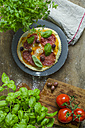 Pizza salami with black olives and basil - ODF001321