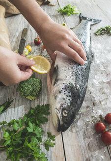 Preparing raw salmon for cooking - DEGF000533