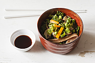 Bowl of miso soup with carrots, champignons and savoy - EVGF002248