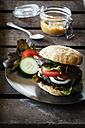 Homemade veggie burger, mushroom lentil fritter - EVGF002384