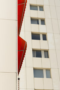 Germany, Duesseldorf, red canvas blind at high-rise residential building - VIF000409