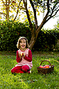 Portrait of laughing little girl sitting on a meadow with wickerbasket of apples - LVF003869