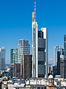 Germany, Hesse, Frankfurt, Financial district, Commerzbank Tower and Opera Tower - AMF004258