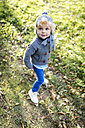 Portrait of little boy wearing autumn fashion - MGOF000787