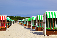 Germany, Boltenhagen, two rows of hooded beach chairs at beach - KLRF000115