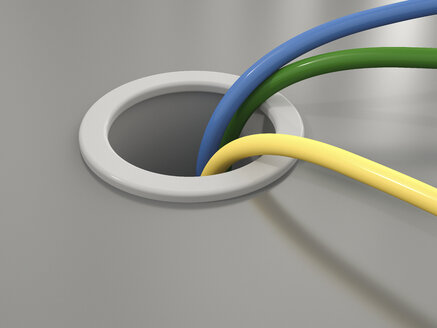 3D Rendering, different cables, hole - UWF000618