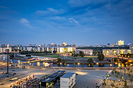Germany, Berlin, cityscape with Spree river at dusk - NKF000413