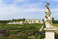 Germany, Lower Saxony, Hanover, Herrenhausen Gardens, Baroque garden and statue - KLR000176