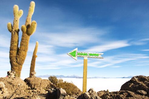 Bolivia, Potosi, Arrow sign at Uyuni Salt Flats - GEMF000429