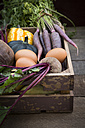 Wooden box of different organic vegetables - LVF003933