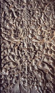 Cambodia, Siem Reap, stone carving at Angkor Wat - EHF000254