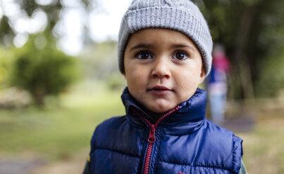Portrait of little boy wearing woolly hat and waistcoat - MGOF000811