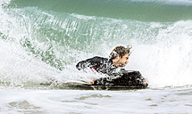 Spain, Asturias, Colunga, body board rider on the waves - MGOF000826