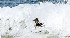 Spain, Asturias, Colunga, body board rider on the waves - MGOF000829