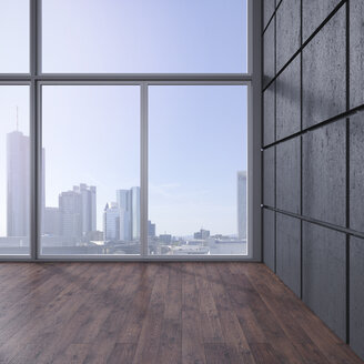 Empty room with wooden floor, concrete wall and view at skyline, 3D Rendering - UWF000625