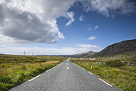 Ireland, County Galway, country road through heathland - ELF001612