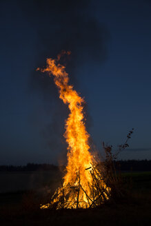Camp fire on a meadow in the evening - SARF002198