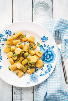 Plate of homemade pumpkin gnocchi with sage - IPF000248