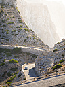 Spain, Mallorca, Cap Formentor, car driving on mountain road - AMF004325