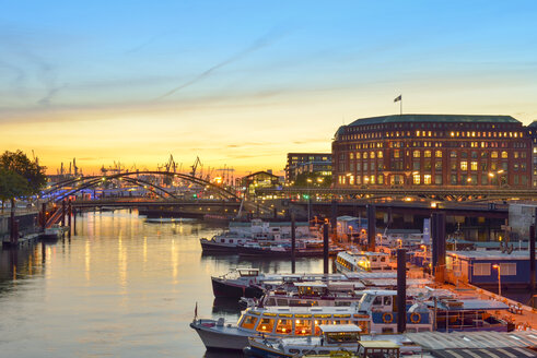 Germany, Hamburg, harbor, Binnenhafen at sunset - RJF000517