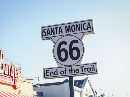 USA, Los Angeles, Santa Monica Pier, sign 'End of the Trail' of Route 66 - SBDF002305