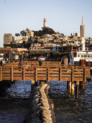 USA, San Francisco, city view with coit tower and transamerica pyramid in the evening - SBD002329