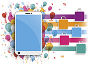 Smartphone with colorful balloons, shopping bags and percentage signs, illustration - ALF000602
