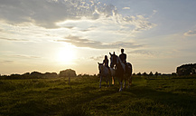 Young women riding in field at sunset - BFRF001563