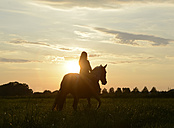 Young woman riding into the sunset - BFRF001575