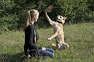 Young woman taming her dog on a meadow - CRF002720
