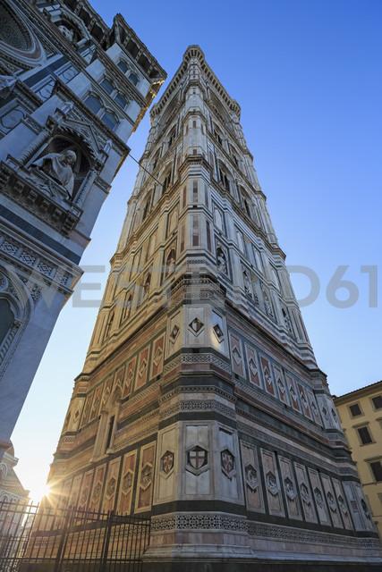Italy, Florence, part of facade of Basilica di Santa Maria del Fiore and Campanile di Giotto - FOF008305
