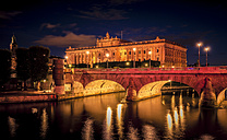 Sweden, Stockholm, view to Parliament Building with Norrbro Bridge in the foreground by night - MPA000047