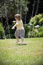 Little boy playing with lawn sprinkler in the garden - RMAF000027