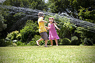 Two little children playing with lawn sprinkler in the garden - RMAF000030
