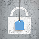 Model house with padlock, vector graphics - ALF000607