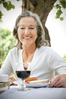 Portrait of smiling woman sitting at laid table in the garden - RMAF000113