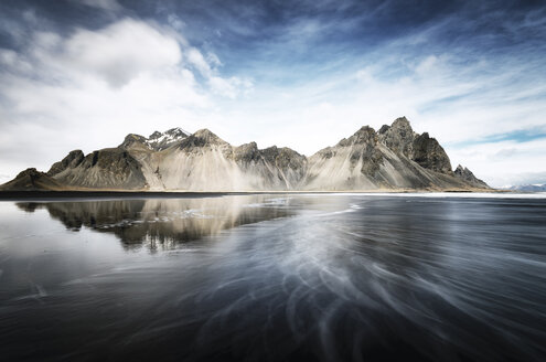 Iceland, Stokksnes, Vestrahorn Mountains, Black Sand Beach - SMAF000380