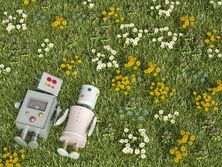 Male and female robot lying in flower meadow, 3D rendering - UWF000635